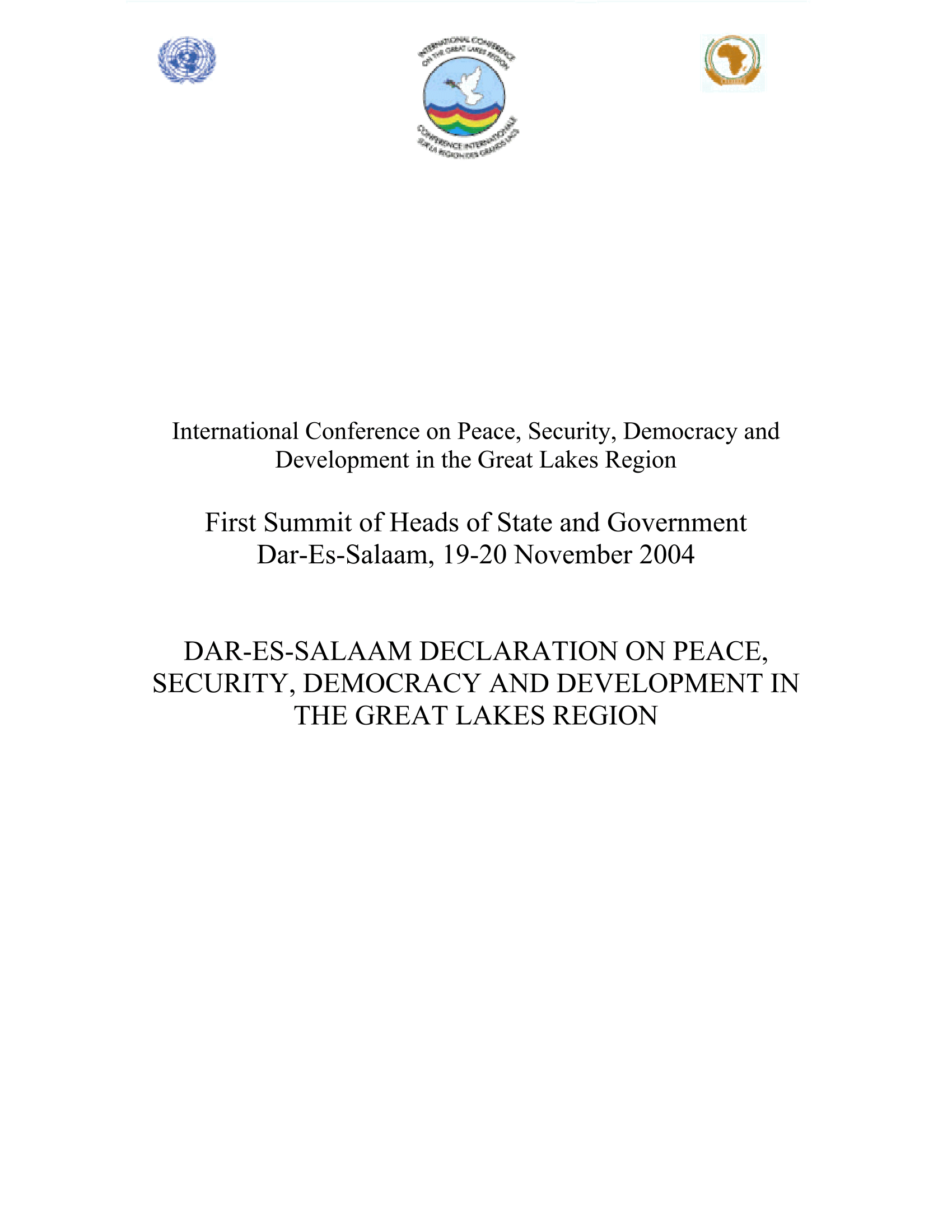 Cover of ICGLR (2004), Dar-Es-Salaam Declaration On Peace, Security, Democracy And Development In The Great Lakes Region.
